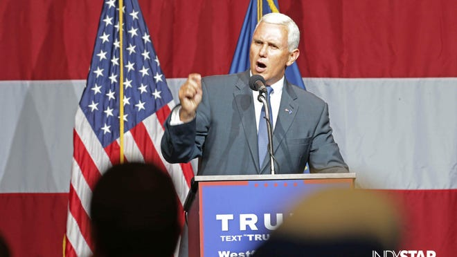 Gov. Mike Pence gives a fiery endorsement of Donald Trump during a rally Tuesday in Westfield.
