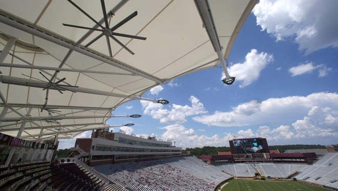 The new Champions Club at Doak Campbell Stadium is on schedule to be completed by the Seminoles' home opener Sept. 10.
