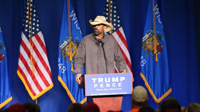 August 5, 2016 Photographs from the Donald Trump and Mike Pence speaking at the KI Convention Center in Green Bay WI. Here Milwaukee County Sheriff David Clarke speaks. MICHAEL SEARS/MSEARS@JOURNALSENTINEL.COM