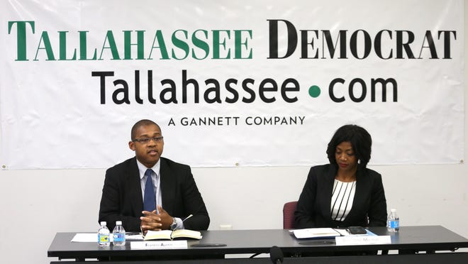 Leon County Clerk of Courts candidates Franklin Ayetin and Gwendolyn Marshall speak to the Tallahassee Democrat Editorial Board.