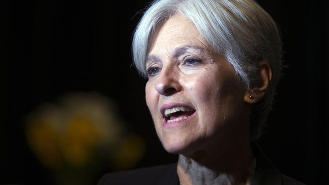 FILE - In this Oct. 6, 2016 file photo, Green party presidential candidate Jill Stein meets her supporters during a campaign stop at Humanist Hall in Oakland, Calif. Stein is on track to raise twice as much for an election recount effort than she did for her own failed Green Party presidential bid. (AP Photo/D. Ross Cameron)