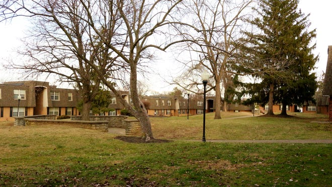 Eight buildings back onto this park area at the Burgundy Court Apartments.