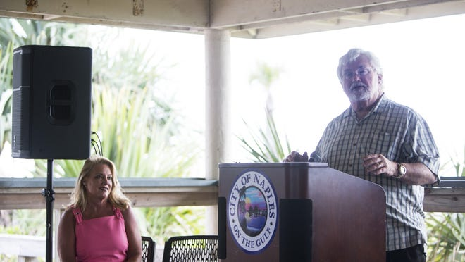 State Sen. Jack Latvala, alongside state Rep. Kathleen Peters, discusses sweeping legislation to protect and restore Florida's beaches during a news conference at Lowdermilk Park in Naples on Friday.