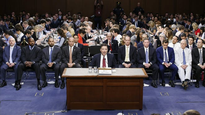 Former FBI Director James Comey testifies before the Senate Intelligence Committee in this file photo.