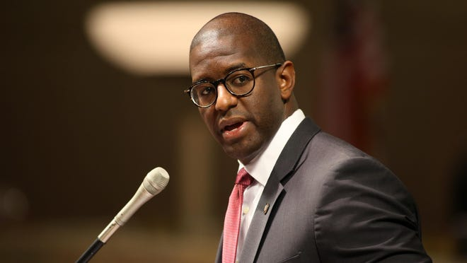 Mayor Andrew Gillum speaks during a city commission meeting at City Hall on Wednesday.