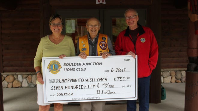 The Boulder Junction Lions Club presented their annual $750 donation to Camp Manito-wish YMCA. Pictured are Anne Derber, Camp Manito-wish chief executive, from left, Otis Voeltz, Lions Club treasurer, and Jeff Lucas, Lions Club president.This mission of Camp Manito-wish is to enrich the character and leadership development of each person who has a Manito-wish experience by challenging them to grow in wisdom, in stature, in favor with God, and in favor with one another. The Manito-wish experience develops confident, responsible and enlightened leaders who will improve the world in which they live.