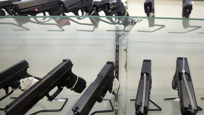 Gun sales in the past have surged across the country in the weeks after past mass shootings, such as in Orlando, Fla., San Bernardino, Calif., or Newtown, Conn. Alan Diaz/AP This Wednesday, June 29, 2016, photo shows guns on display at a gun store in Miami. After a gunman killed more than 50 people in Las Vegas in the nation's latest mass shooting, stocks in the gun industry rose, Monday, Oct. 2, 2017. (AP Photo/Alan Diaz)