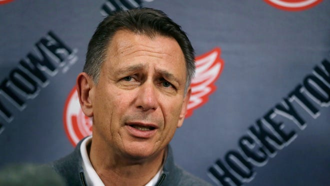 FILE - In this Wednesday, May 20, 2015, file photo, Detroit Red Wings General Manager Ken Holland addresses the media in Detroit. The Detroit Red Wings have been fading from elite status in the NHL for nearly a decade and a new arena isn't going to do much to fix their problems. They have a lot of players who belong in the league, but they don't have any stars to lead the franchise back to prominence, Tuesday, Nov. 7, 2017. (AP Photo/Carlos Osorio, File)