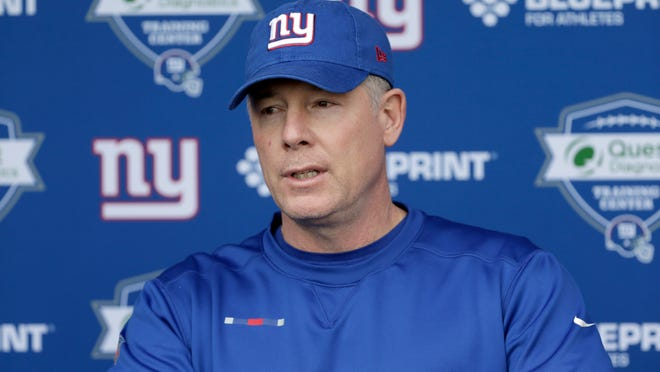 New York Giants head coach Pat Shurmur speaks to reporters before an NFL football training camp in East Rutherford, N.J., Tuesday, April 24, 2018. (AP Photo/Seth Wenig)