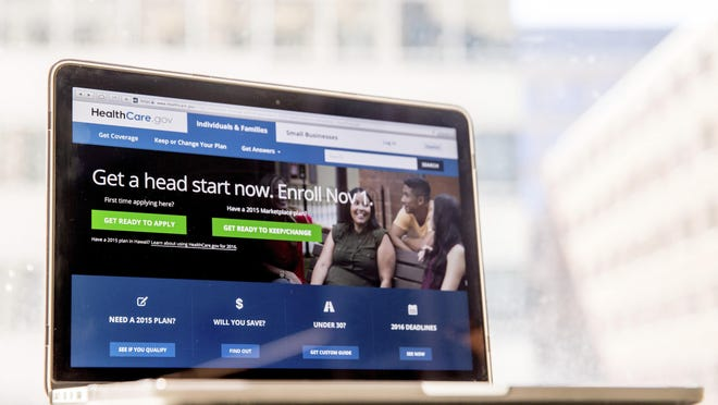 The HealthCare.gov website, where people can buy health insurance, is displayed on a laptop screen in Washington. A new poll finds that Americans are giving Democrats a clear advantage on health care as the 2020 presidential campaign gears up.