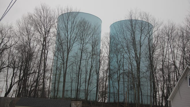 Two 1-million-gallon water towers in the Town of Wallkill Sunday afternoon near Denman Road. They will be cleaned and an agitator will be installed to prevent sediment buildup.