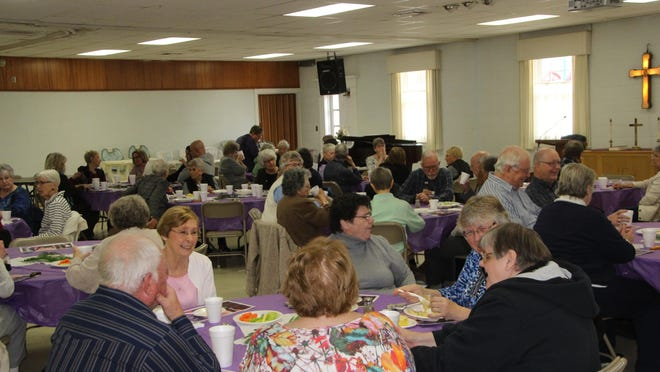 Worshippers from many faiths and churches join together for a Lenten Luncheon service at First United Methodist Church on Wednesday in Pratt. Wednesday services take place there from 11:45 to 1 p.m. through Lent.