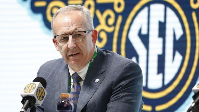Southeastern Conference commissioner Greg Sankey addresses the media March 11.