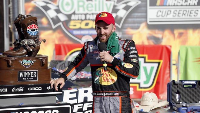 Austin Dillon speaks in Victory Lane after winning the NASCAR Cup Series auto race at Texas Motor Speedway in Fort Worth, Texas, on July 19.