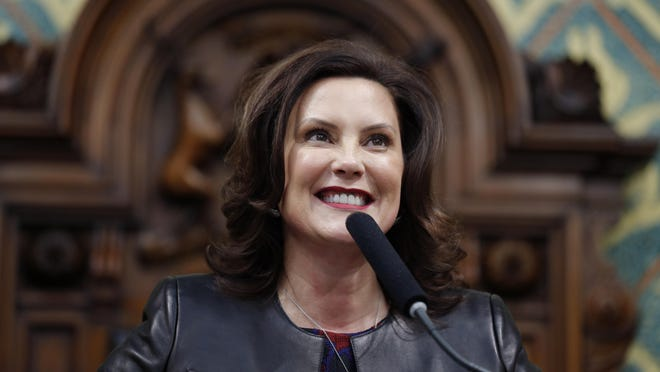 LANSING, Mich. -- Gov. Gretchen Whitmer delivers her State of the State address to a joint session of the House and Senate in January. Whitmer endorsed former Vice President Joe Biden ahead of that state's March 10 presidential primary.