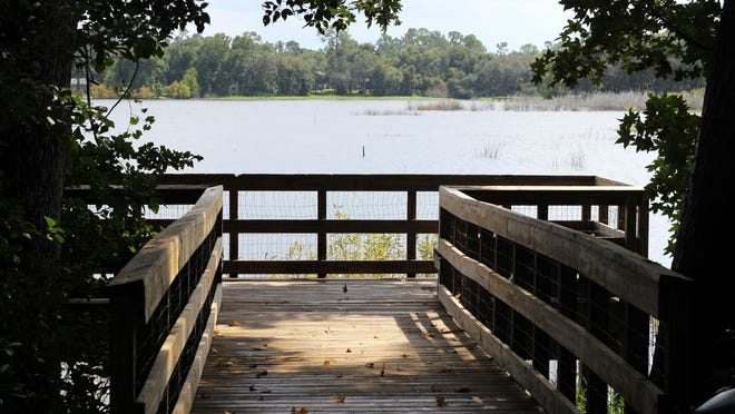 This boardwalk in Colby-Alderman Park looks out over Lake Colby in Lake Helen. Just after midnight Sunday, a woman reported being grabbed, threatened and raped somewhere in the park, Volusia County deputies said.