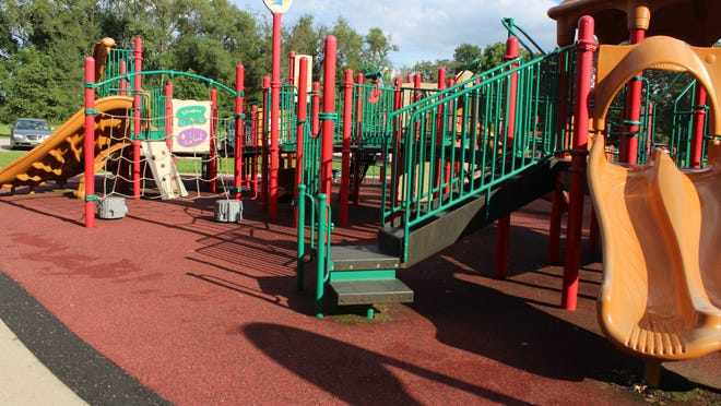 The city reduced costs to replacing playground surface at SOAR park by only replacing the edges where gaps caused tripping problems.