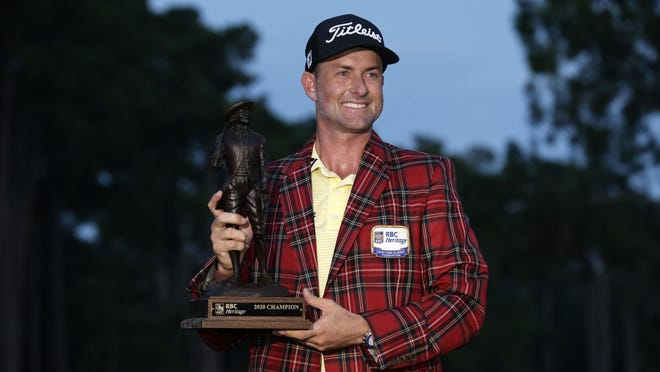 North Carolina native Webb Simpson, here after winning the RBC Heritage golf tournament in June, is scheduled to be in the field for this week's Wyndham Championship in Greensboro.