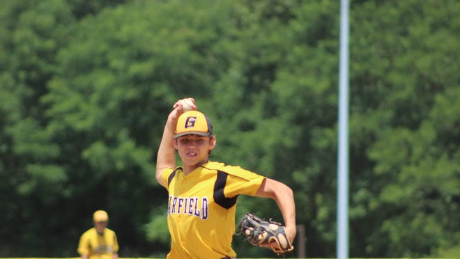 Brody Swigonski fires a pitch for Garfield Saturday afternoon.
