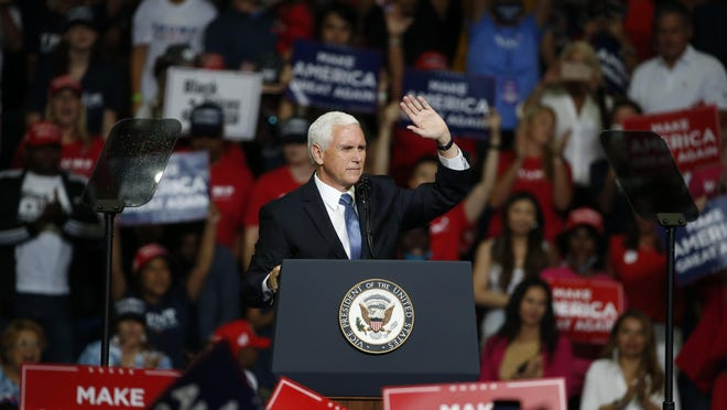 Vice President Mike Pence speaks during a campaign rally Saturday, June 20, 2020, in Tulsa, Okla.