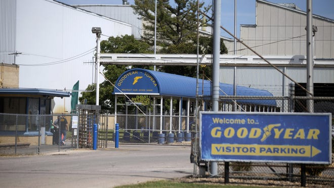 "Employees of the Goodyear distribution center in Topeka, Kan., enter the facility Thursday afternoon. The plant has come under fire after the plant showed a slide during a training stating ""Black Lives Matter"" and LGBT pride apparel were ""acceptable"" while ""Blue Lives Matter,"" ""All Lives Matter,"" ""MAGA Attire,"" and other political materials were labeled ""unacceptable."""