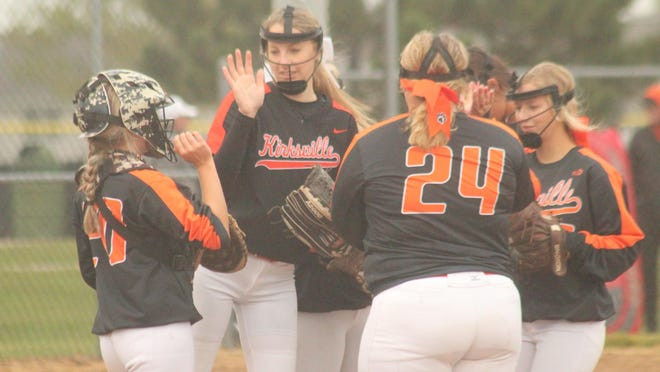 The Kirksville infield high-fives each other before the start of the fourth inning of Tuesday's 13-1 win against Mexico.