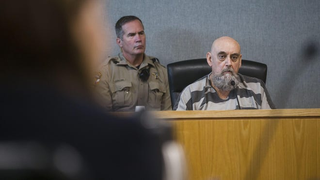 Michael Galvan, charged with murder in the 1979 cold case homicide of Debra Reiding, testifies during a Nov. 7, 2018, hearing. The Travis County district attorney's office said it will drop the capital murder charge against Galvan because of issues with the evidence.