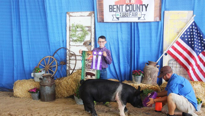 Cyler Jagers had the grand champion market hog at the Bent County Fair on Thursday.