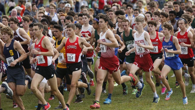 The Norwich Free Academy boys cross country team competes in last season's annual Haddad Windham Invitational at Windham High School.