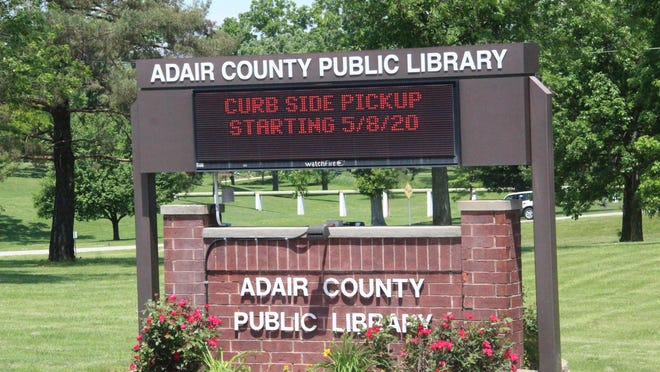 Daily Express file photo of the Adair County Public Library's sign.