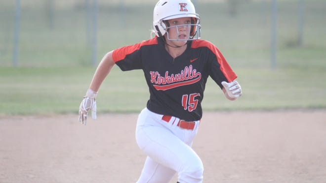 Madison Brewer takes off from second base during Monday's game against Chillicothe.