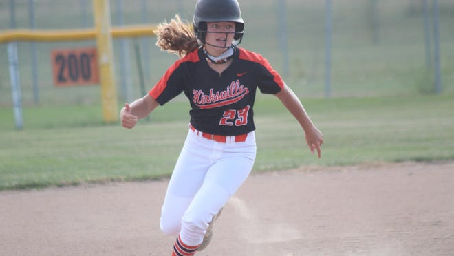 Jada Jackson rounds second base during Kirksville's game against Chillicothe on Monday. Jackson scored four runs for the Tigers against Clark County on Wednesday.