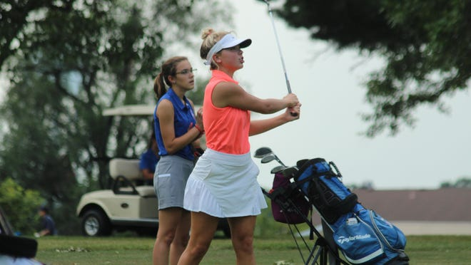 Kirksville's Cynthia Willcox watches where her shot lands Tuesday during a meet at Kirksville Country Club.