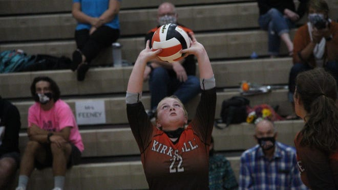 Kirksville senior setter Addi LaBeth passes the ball Tuesday in a match against Marshall.