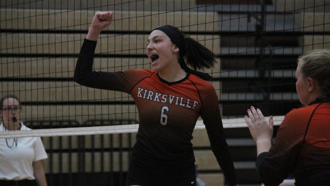 Kirksville's Emily Middleton reacts after a kill during Thursday's match against Brookfield.