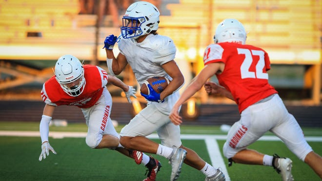 Van Alstyne's Collin Reynolds makes a play after the catch against Pottsboro during the preseason scrimmage. Reynolds will be a main target for the Panthers in 2020.