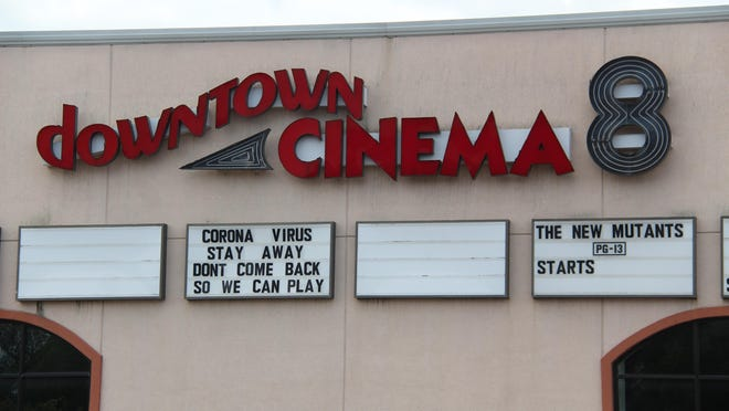 Downtown Cinema 8 has updated its marquee to show upcoming movies, as well a message to the coronavirus.