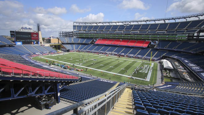 General View of Gillette Stadium prior to an NFL football game between the Miami Dolphins and New England Patriots, Sunday, Sept. 13, 2020, in Foxborough, Mass.