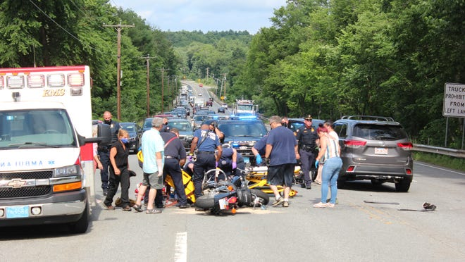 Traffic was backed up on Route 20 after the crash.
