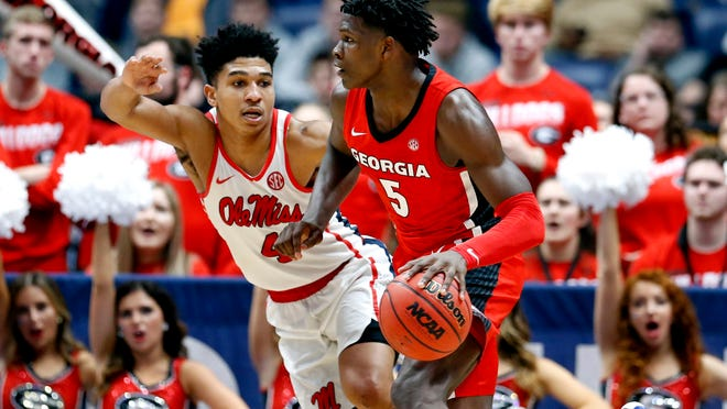 Georgia guard Anthony Edwards, right, is expected to be a contender for the No. 1 draft pick in the NBA Draft.