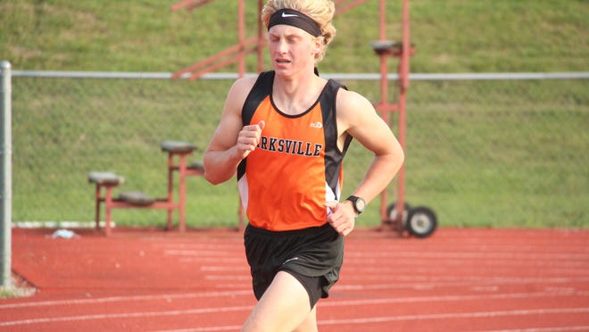 Kirksville sophomore Dominic Cahalan runs at Spainhower Field Saturday as part of a virtual cross country meet organized by Tigers coach Ethan Gabel.