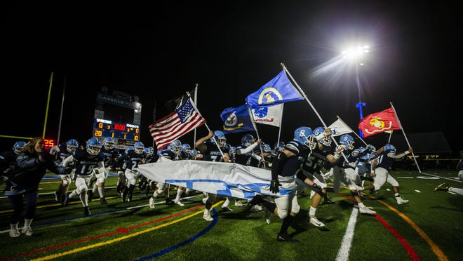 The Spartans take the field for their North 2, Group 3 semifinal matchup against West Essex at Sparta High School Friday, November 15, 2019, in Sparta. The Spartans fell to the Knights 48-28.
