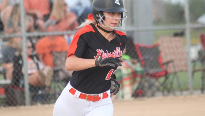 Kirksville outfielder Jessi Nigh heads into first base on an RBI double against Marshall.