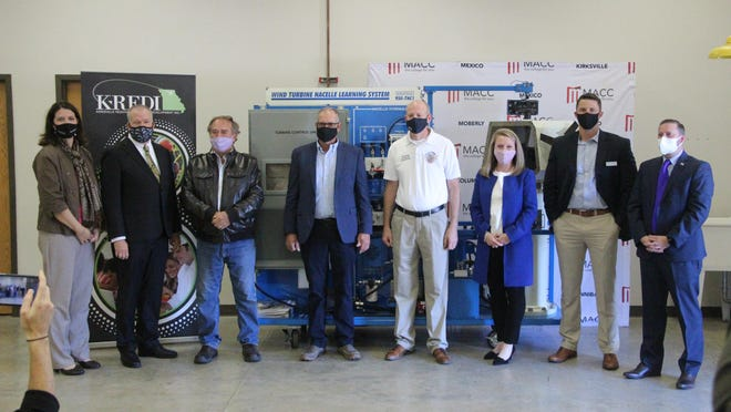 Moberly Area Community College President Jeff Lashley, second from left, is joined by community leaders Thursday at the college's Kirksvile campus to announce a new wind technician certificate program and mechatronics lab for the campus.