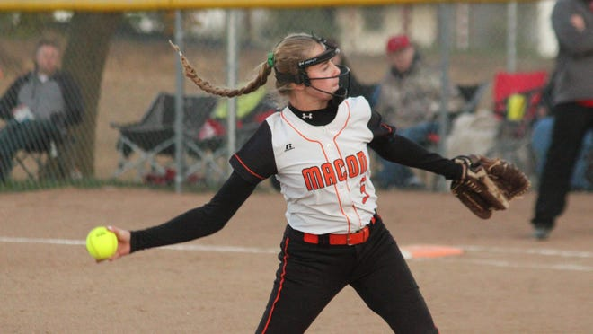 Macon pitcher Brooke Weimer delivers the ball during Thursday's home game against Chillicothe.