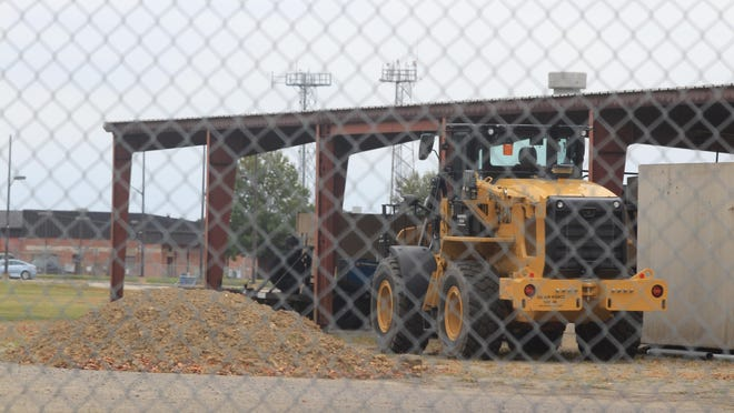 A bulldozer sits on the property of the new Veterans Affairs hospital in the 5700 block of Phoenix Avenue on Saturday, Oct. 24, 2020, in Fort Smith.