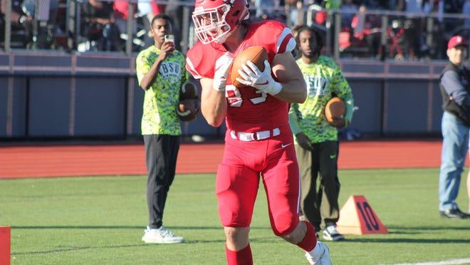 Bridgewater State's Joseph Leano hauls in a touchdown pass against UMass Dartmouth on Oct. 19, 2019.
