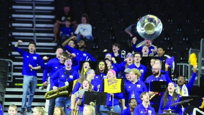 The Western Illinois band cheer on the Leatherneck women's basketball team last March at the Summit League Tournament in Sioux Falls, S.D.