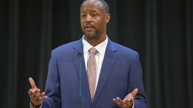 Howard Spearman, seen here at a community forum on July 20, 2020, at Rock Valley College in Rockford, is in line to become the college's first Black president. The college's board is expected to vote on his job offer at a special meeting Thursday.