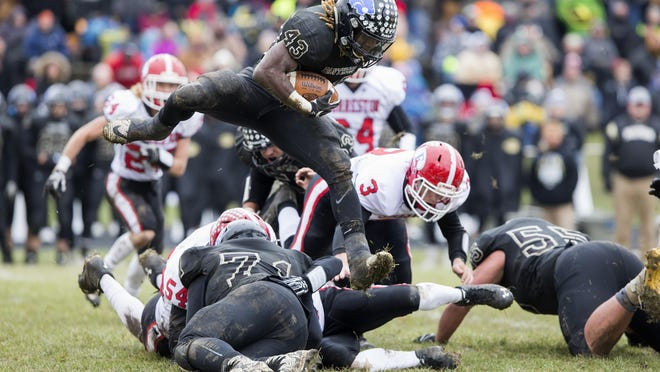 Lena-Winslow's Rahveon Valentine (43) is the second-leading rusher in NUIC history despite missing most of his sophomore season with an ankle injury.
